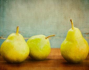 Still life Photography, green pear print, kitchen decor, food photography