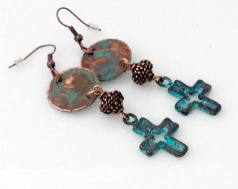 Rustic Cowgirl Style Copper Patina Cross Earrings With Distressed Copper Disks and Copper Beads NE222