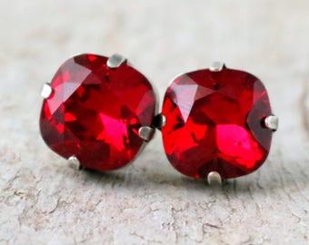 Ruby Earrings | Swarovski Earrings | Cushion Cut Square Earrings | Siam Earrings | Ruby Earrings | Ruby Wedding | Gift For Her