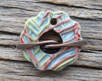 Toggle  Clasp Round Multi Color Porcelain  by Mary Harding
