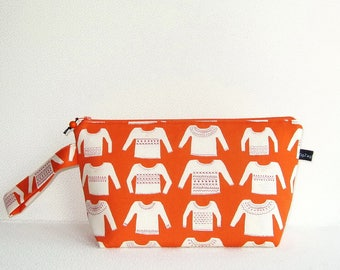 Wedge Bag, Small-Project Knitting Bag, My Favorite Sweater in orange