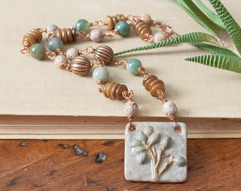 Ceramic Pendant Necklace Wire Wrapped Copper Beaded Necklace Jasper Soapstone Mother of Pearl Heshi beads Blue Green Brown Aqua Mint