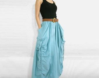 Spring Summer Skirt - Lagenlook Unique Big Pockets Light Blue Long Maxi Skirt SK001