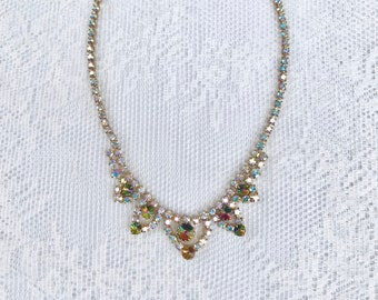 Gorgeous Vintage Gold tone and rainbow stone Costume jewellery necklace