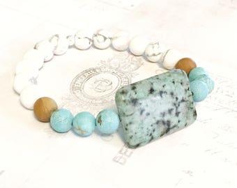 Friendship Bracelet - Healing Jewelry - African Turquoise Bracelet - Yoga Bracelet - Yoga Jewelry - Energy Healing - Crystal Healing