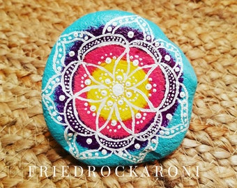 Colorful hand painted mandala rock