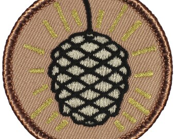 Metallic Pine Cone Patch - 2 Inch Diameter Embroidered Patch