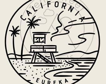 California State Design - Hand-Drawn Art Poster Print