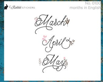 Pretty Month Stickers 0100 -  Planner Stickers, Dutch stickers, nederlands, Spanish stickers, Bullet journal, Dutch