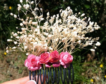 Wedding hair comb, bride, prom hair, babys breath, gypsophila, communion, pink roses / Peineta de boda, paniculata, peinado, rosas, fiesta