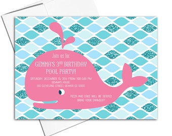 Girls 3rd birthday invitation printable | pool party invitations | whale birthday party invites | hot pink and teal - WLP00305