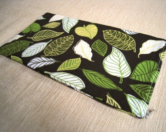 Leaves on Chocolate Brown - Apple Wireless Keyboard Sleeve - Padded and Zipper Closure