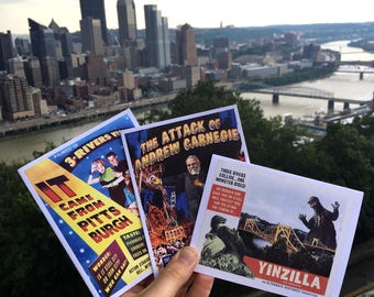 Pittsburgh cards, Pittsburgh Trilogy, Yinzilla, Carnegie, Pittsburgh, Set of Three, Monsters, Retro, Alternate Histories