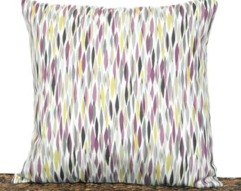 Purple Abstract Pillow Cover Cushion Chartreuse Gray Brown Tan Beige Pantone Modern Decorative 18x18