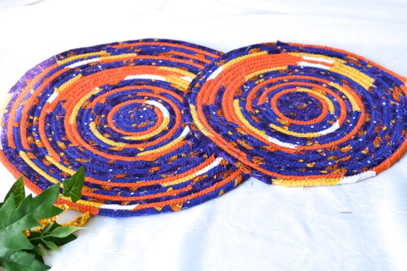 Purple Place Mats, 2 Handmade Quilted Potholders, 2 Fun Hot pads, Purple and Orange Table Topper, Table Runner, Coiled Rope Mats