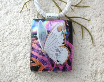 Butterfly Necklace, Fused Glass Jewelry,Dichroic Jewelry,OOAK Handmade Necklace, Dichroic Jewelry, Dichroic Pendant ccvalenzo,, 042618p100