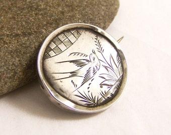 Vintage Sterling Silver Brooch, Aesthetic Period Bird Brooch, Round Silver Brooch, Victorian Silver Pin, Bird Brooch, Edwardian Pin