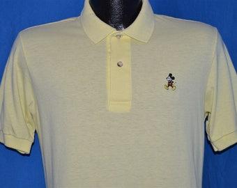 80s Walt Disney Mickey Mouse Yellow Polo Shirt Small