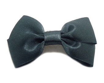 Charcoal grey Satin ribbon bow brooch.