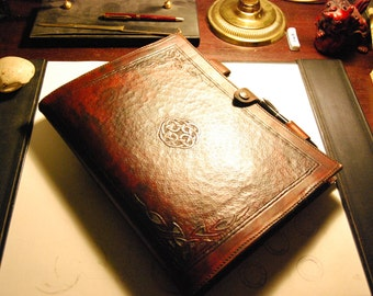 Hand carved Leather Writing Portfolio