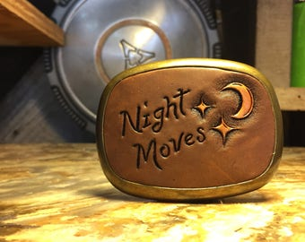 Bob Seger Belt Buckle/ Night Moves/ Leather Belt Buckley/ Personalized Belt Buckle/ Southwest Belt Buckle/ 70s' Accessories/ Chopper
