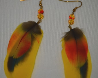 Yellow Feather Earrings - Yellow Parrot Feather Earrings - Cruelty Free Parrot Feather Earrings