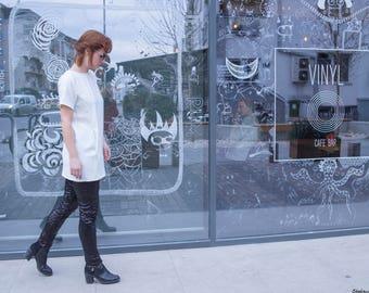 Gift for Women Short Sleeve Dress, Summer Dress White Summer Dress, Women's Summer Mini Dress White,