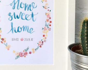 Personalised Floral Watercolour 'Home Sweet Home'  Print