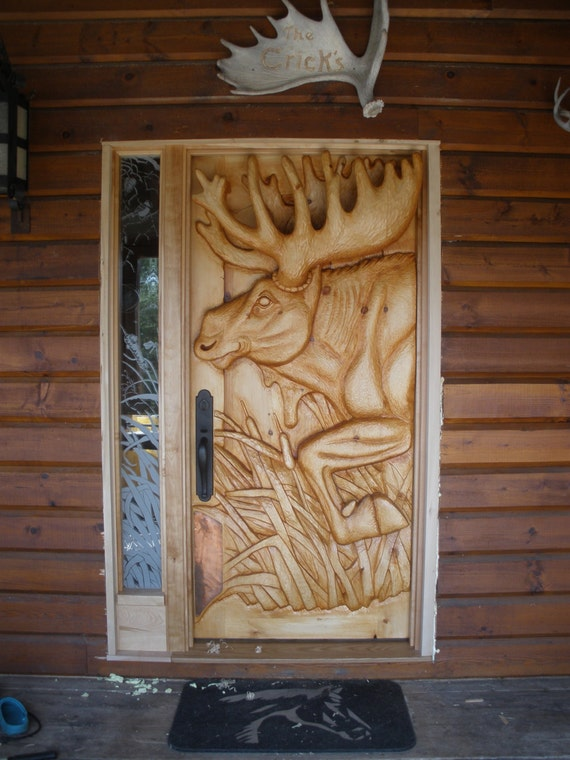 Items Similar To Entry Door Moose Door Hand Carved White Pine On Etsy & Enchanting Deer Carved Front Door Images - Exterior ideas 3D - gaml ...
