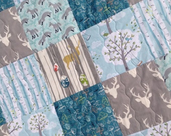 READY TO SHIP, Fox Baby Quilt, Rustic Baby Quilt,Woodland Baby Quilt Woodland Nursery Bedding, Blue and Grey,  Baby Quilt, Q14