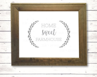 "Home Sweet Farmhouse 8.5x11"" sign, instant digital download, farmhouse style sign"