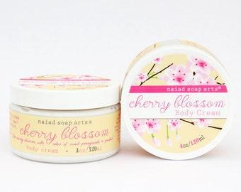 Cherry Blossom Shea Butter Body Cream - anti-oxidant rich - Vegan and Cruelty Free - 95% natural