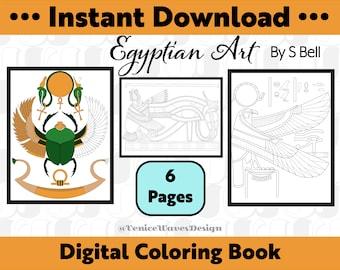 Egyptian Art Digital Coloring Book, Egyptian Coloring Book, Egyptian Coloring Pages, Egyptian Coloring Sheets