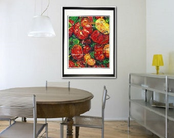 Chef wall art, kitchen wall art, Garden wall art, Vegetable art, Garden Tomatoes, red tomatoes Limited Edition Print, Pittsburgh artist