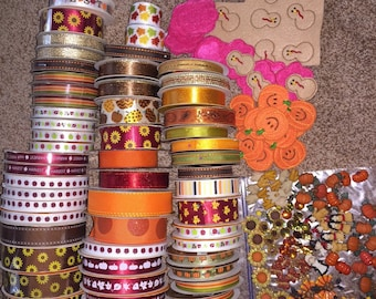 Autumn Fall Ribbon and Buttons & FREE SHIPPING!