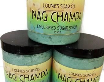 Nag Champa   Sugar Scrub   10oz   Body Polish   Scrub   Mango Butter   Jojoba Oil   Argan oil   Gift   Sugar   Exfoliate   Moisturize   Shea
