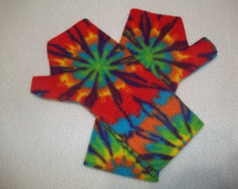 Kid's Fleece Fingerless Gloves, Bright Rainbow Burst, Tie Dye