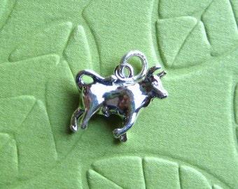Sterling Silver Taurus  Zodiac  Sign Charm