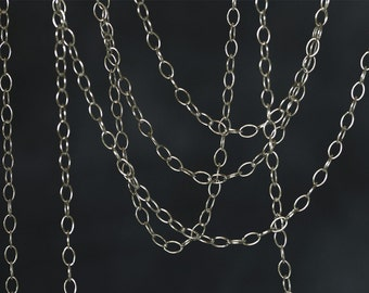 2092 Silver chain 2.6mm x 3.8mm 925 sterling silver chain Oval link chain 925 Italy silver chain Jewelry making sterling silver chain 0.5m