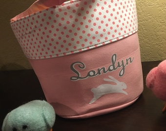 Personalized Easter egg basket, fabric easter basket