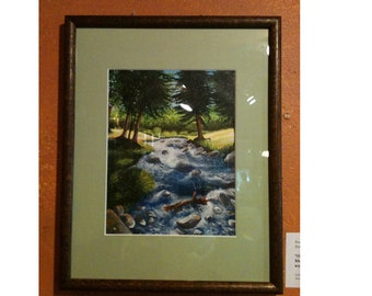 Forest creek painting. Stream, river, trees, nature, wilderness, national park, water, peaceful, green, small, acrylic, wood framed