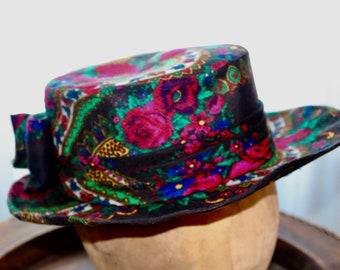 Flower Hat , Festival Hat , Urban hat , OOAK Hat , Wannabe Hat