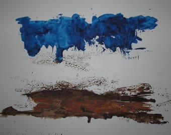 "Abstract Minimal Landscape No. 00193 Watercolor On Paper 11x15"" Original"