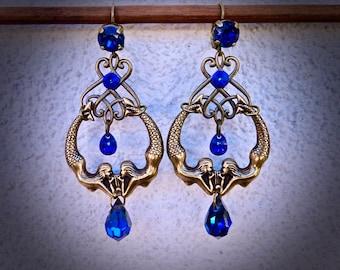 "Art Deco Earrings: ""We're all mermaids..."", Duo of mermaids brass bronze antique"