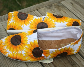 Full Sunflower Hand Painted TOMS Shoes