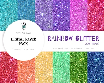 Rainbow glitter - digital paper pack