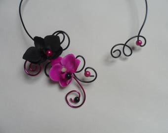 "Custom order ""Elisamelina"" - necklace and hair clips - black and fuchsia"