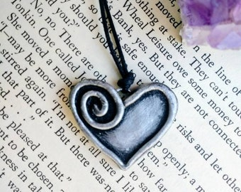 Unique Heart Necklace, Handmade Silver Polymer Clay Necklace, Clay Spiral Heart, Heart, Ooak Heart Necklace, Love Heart Necklace, Love.