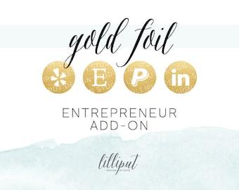 Gold Foil Social Media Icons | Entrepreneur Add-On Pack