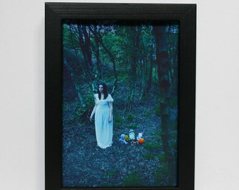 Fine art photography, framed photography, night, forest, woman- 'Wander'